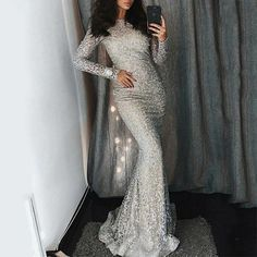 Mermaid Bateau Sliver Lace Long Sleeves Evening Prom Dress with Sequins Prom Dress Lace, Evening Dresses With Sleeves, Prom Dresses, Sequin Evening Dresses, Prom Dress Mermaid Prom Dresses 2019 Prom Dresses Long With Sleeves, Prom Dresses 2018, Mermaid Prom Dresses, Dress Prom, Long Sleeve Sparkly Dress, Formal Dress, Sleeved Prom Dress, Bodycon Dress, Formal Prom