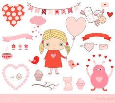 Love clipart collection, Hand drawn Valentine clip art, Valentine's day digital download, Cute kawaii girl, cupcake, banner, bird, bunting