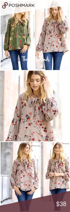 Floral Tie Neck Blouse Elegant & on trend with this floral tie neck Blouse & bamboo sleeves. Perfect for any day of the week! Sizes small, medium, large. 100% rayon. Comes in olive or taupe Tops Blouses