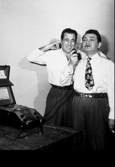 "Bogie and Eddie playfully on the set of 1948's ""Key Largo"""