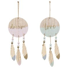 Hang in bedrooms or living rooms for a beautiful home decor addition. Buy decorative ornaments for the home at B&M. Lazer Cut Wood, Dream Catcher Tutorial, Baby Door Hangers, House Ornaments, Do It Yourself Projects, Mandala Art, Decorative Accessories, Crafty, Drop Earrings