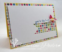 Banner Rainbow Card Hero Arts Sentiment Stamp Set  Cardstock:  Whisper White  Ink:  Pacific Point  Accessories: Brights Buttons, Baker's Twine, Small Butterfly Punch, Hearts a Flutter Framelits, Sunshine and Sprinkles Designer Series Paper, Dimensionals
