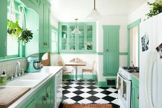 new Ideas for painting kitchen cabinets green apartment therapy Painting Kitchen Cabinets, Kitchen Paint, New Kitchen, Vintage Kitchen, Kitchen Decor, Kitchen Ideas, Kitchen Inspiration, Stylish Kitchen, Kitchen Designs