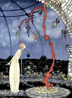 """Rosalie saw before her eyes a tree of marvellous beauty."" Virginia Frances Sterrett illustration from Old French Fairy Tales (1920)."
