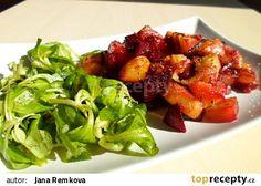 Pečená červená řepa s brambory a cibulí recept - TopRecepty.cz Kung Pao Chicken, Ale, Vegetarian Recipes, Pork, Stuffed Peppers, Lunch, Vegetables, Meat, Ethnic Recipes