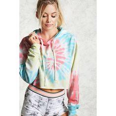 Forever21 Active Tie-Dye Crop Hoodie ($20) ❤ liked on Polyvore featuring tops, hoodies, crop top, drawstring hoodie, tie dye hoodies, long sleeve hoodie and tie-dye crop tops