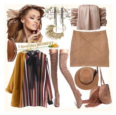 """""""Camel Faux Suede Point Toe Tie Back Knee Boots"""" by ane-twist ❤ liked on Polyvore featuring skirt, outfits and polyvoreeditorial"""