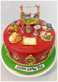 Telugu style Namakaranam theme cake / cradle ceremony Jungle Birthday Cakes, Themed Birthday Cakes, Themed Cakes, Cake Decorating Techniques, Cake Decorating Tutorials, Decorating Ideas, Cradle Decoration, Cake Pictures, Cake Pics
