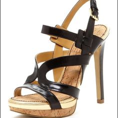 "Nine West Breezin high heel Worn twice. Black with gold accent. Front platform is 1"" and heel is 5"" high. Nine West Shoes Heels"