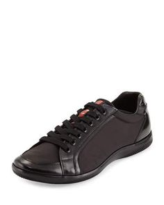 N2U87 Prada Offshore Nylon Low-Top Sneaker, Black
