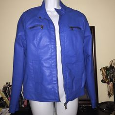 Faux leather Jacket Blue faux leather jacket from Sears. It's like new and shows no visible signs of wear (that I can see) worn 2-3x. Size L. Super soft! Jackets & Coats