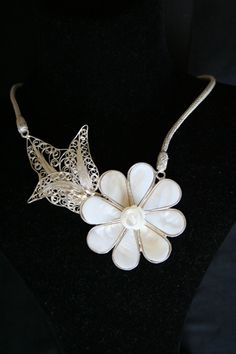 silver filigree and mother of pearl necklace