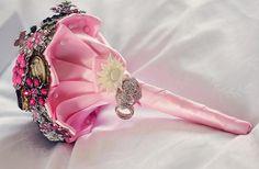 Nautical Wedding in Navy Blue & Pink | Confetti Daydreams - Stunning pink satin wrapped keepsake wedding brooch bouquet ♥ #Nautical #Wedding #Theme #Pink #Navy #Blue