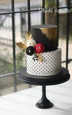 Black White Ranunculus Cake by Sihirli Pastane - http://cakesdecor.com/cakes/266418-black-white-ranunculus-cake