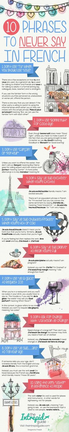 Educational infographic & data visualisation Top 10 Phrases to Never Say in French [Cheat-Sheet. Infographic Description Top 10 Phrases to Never Say in French Language Lessons, French Language Learning, Learn A New Language, French Lessons, Spanish Lessons, Spanish Language, Learning Spanish, Learning Italian, German Language