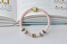With patience required, this pink nylon thread kumihimo bracelet with European rhinestone beads is finished as below:
