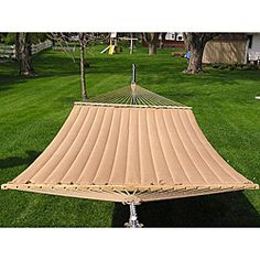 @Overstock.com - This two-person quilted hammock is perfect for those quiet, romantic nights. Wide enough to fit two people comfortably, the fabric is soft and inviting, while being resistant to all kinds of weather conditions, including sunlight and rain.http://www.overstock.com/Home-Garden/Grand-Super-2-person-Brown-Quilted-Hammock/6017745/product.html?CID=214117 $104.99