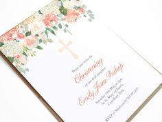 Floral Baptism Invitation Christening Invite Confirmation