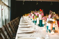 Love this modern and bright tablescape. Photographer EPLove Photography. Palm Springs ACE hotel and swim club wedding