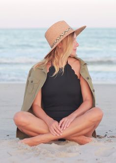 Beach Weekend Style: Scallop Black One Piece Bathing Suit, Straw Hat and @oldnavy Cargo Shirt