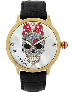 Betsey Johnson - SKULL FACE WATCH BLACK