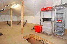 Storage space in the roof Roof Storage, Attic Storage, Storage Spaces, Storage Solutions, Roof Ideas, Organization, Workplace, Organize, Garage