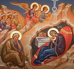 Nativity of Christ Greek Icons, The Birth Of Christ, I Love Winter, Byzantine Art, Orthodox Christianity, Religious Icons, Holy Family, Orthodox Icons, Religion