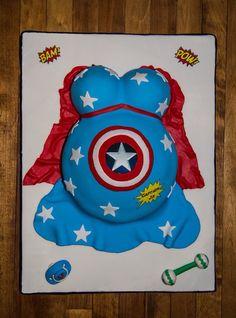 Super hero baby shower cake