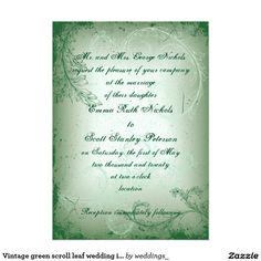 """Vintage green scroll leaf wedding invite 5"""" x 7"""" invitation card"""