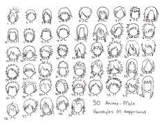50 Anime-Male Hairstyles II by OrangeNuke