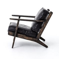 A modern take on the classic Adirondack, this luxurious lounge chair is finished with a black washed, weathered patina while plush ebony, leather cushions provide sleek comfort and ultimate style. Materials: Top-Grain Leather, Oak Dimensions: x x Poltrona Design, Leather Lounge, Leather Cushions, Black Leather Chair, Thick Leather, Style Lounge, Large Furniture, Outdoor Furniture, Occasional Chairs