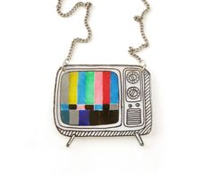 Retro TV Shrink Plastic Necklace transparency by DOODLEWORM