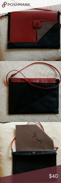 Handmade in Venice Italy, 100% Leather clutch RUST, BLACK BROWN HANDMADE CLUTCH WITH 2 DETACHABLE STSPS ONE FOR SHOULDER ONE FOR CROSSBODY. PURCHASED SEPT 2017 NEVER USED  10.5 long and 7 high 'Gorgeous, unique one of a kind Handmade in Venice Bags Clutches & Wristlets