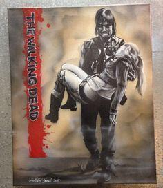 bethyl Walking Dead scene on 16x20 canvas $150.00 on etzy