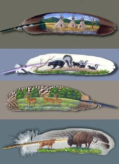 colorful and beautiful in their own right, now adorned further by self-taught, Alaskan born artist, Julie Thompson. Watercolor Feather, Feather Painting, Feather Art, Feather Jewelry, Parrot Feather, Watercolor Art, Native American Pictures, Native American Art, American Indian Crafts