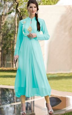 Picture of Sky Blue Color Georgette Kurti Online