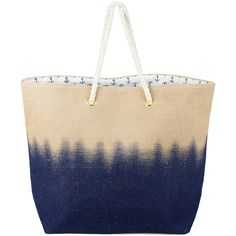 Tri-Coastal Design Navy & Burlap Dip-Dye Tote (£7.08) ❤ liked on Polyvore featuring bags, handbags, tote bags, navy handbag, navy tote, burlap tote, navy blue handbags and navy blue tote