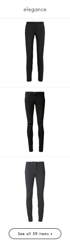 """elegance"" by loveonedirection-i on Polyvore featuring pants, trousers, bottoms, jeans, black, wool gabardine pants, cropped trousers, zip pants, cropped pants et pocket pants"