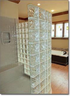 doorless walk in shower | Glass Block Showers | Doorless Glass Block Shower Contractor St. Louis
