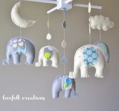 Baby mobile - Baby crib Mobile - Elephant Mobile - Nursery Mobile - Baby boy Mobile - You can PICK ur COLORS and FABRIC :). $115.00, via Etsy.