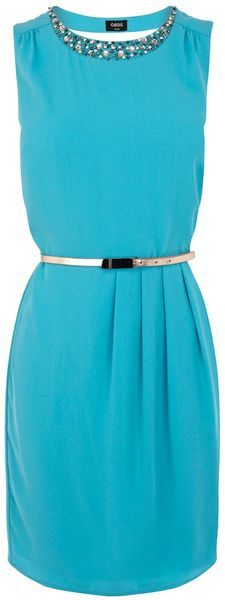 Oasis Pippa Embellished Dress in Blue (turquoise) - Lyst