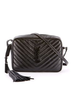 0ff8ab277d79 Saint Laurent Loulou Monogram YSL Medium Chevron Quilted Leather Camera Shoulder  Bag - Black Hardware