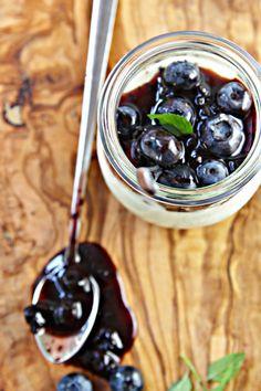 Vanilla Bean Panna Cotta with Blueberry Balsamic Sauce