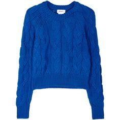 DKNY Blue cable-knit wool jumper (€380) ❤ liked on Polyvore featuring tops, sweaters, woolen sweater, cropped cable knit sweater, blue top, cropped sweater and dkny sweater