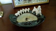 Vintage Poodle and Puppies Ashtray Kitsch EUC