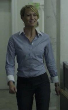 """How to wear """"his shirt"""" Love this look! Claire+in+Dress+Pants+and+Light+Blue+Button+Down.jpg 300×481 pixels"""