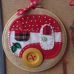 Handmade Christmas embroidery hoop. www.polychromo.etsy.com