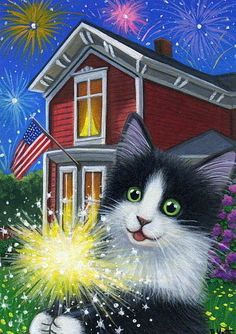 Bridget Voth - kitten cat July 4th fireworks sparkler house original aceo painting art (236×334)