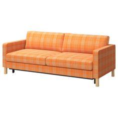 KARLSTAD Sofa trzyosobowa rozkładana - Husie pomarańczowy - IKEA