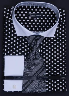 Avanti Uomo men's french cuff dress shirt comes in polka dot and includes tie, hanky and cuff links. These unique dress shirts are a great complement to your new suit. Mens Fashion Shoes, Fashion Moda, Men's Fashion, Sharp Dressed Man, Well Dressed Men, Mens Dress Outfits, Men Dress, Men Suit Shoes, Cheap Suits For Men